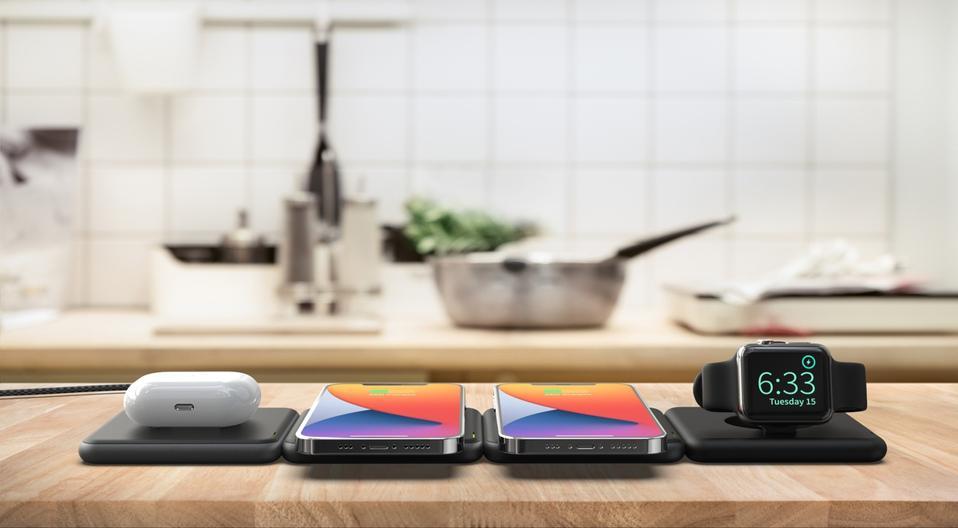 RapidX Modula5 charging pods in a kitchen worktop