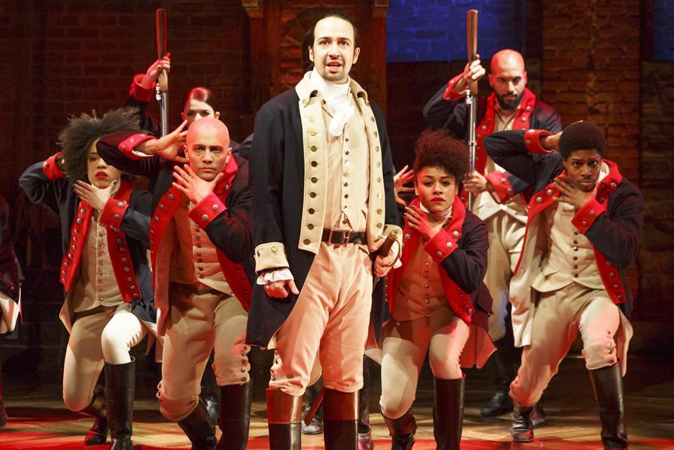 Lin-Manuel Miranda and the original company of Hamilton