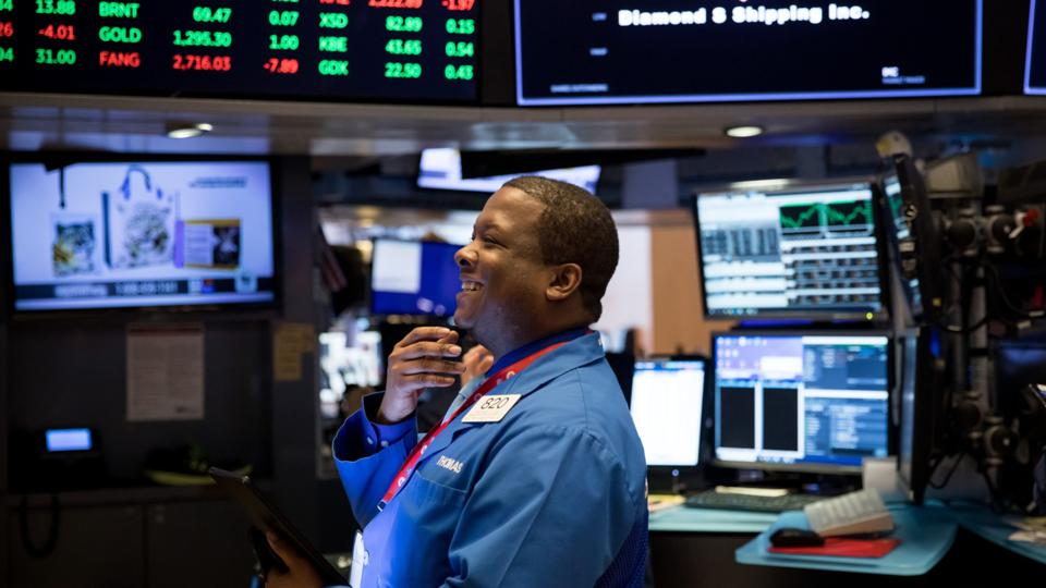 Trading On The Floor Of The NYSE As Stocks Rally on Jobs Growth