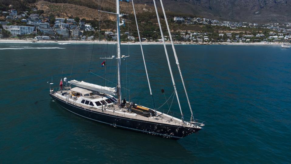 The 112-foot-long Royal Huisman sailing yacht Billy Budd at anchor.