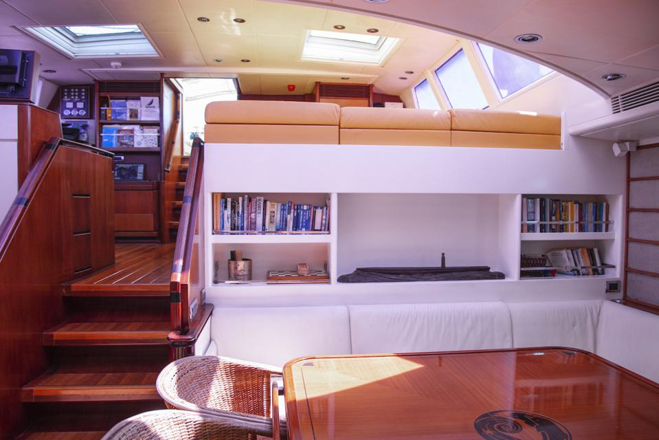 The interior of 112-foot-long Royal Huisman sailing yacht Billy Budd is spacious and comfortable.
