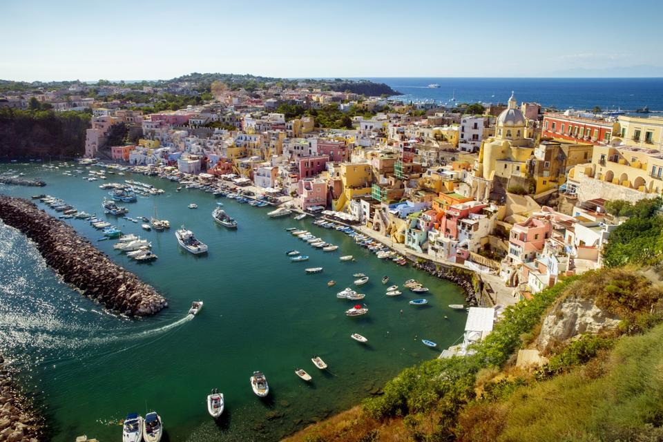 Panorama of Corricella village on Procida island, Campania, Ital