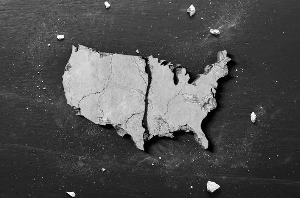 USA Crumbling Economy and Housing Market Concept shape of America