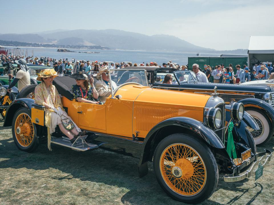 Entrants line up at the Pebble Beach Concours d'Elegance during the 2019 show