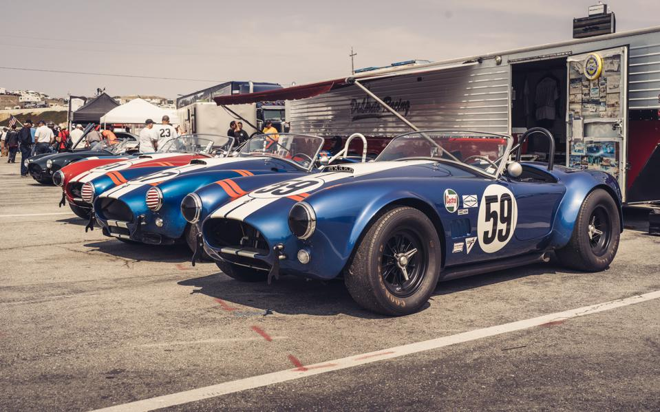 Shelby Cobra lineup at the Rolex Monterey Motorsports Reunion.