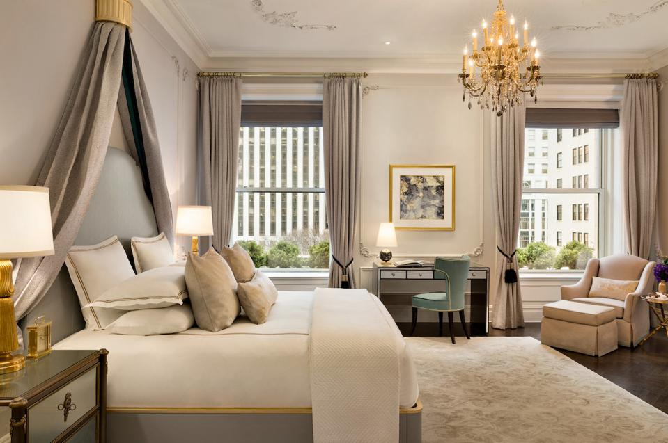 beautiful hotel bedroom at The Plaza