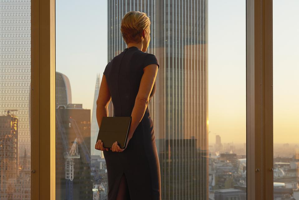Businesswoman looking to the future