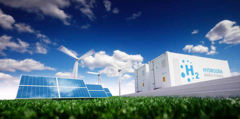Ecology energy solution. Power to gas concept.
