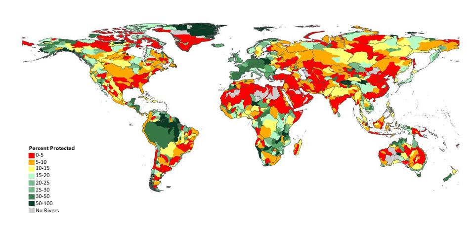 A map of the world organized by river basin with colors showing levels of protection