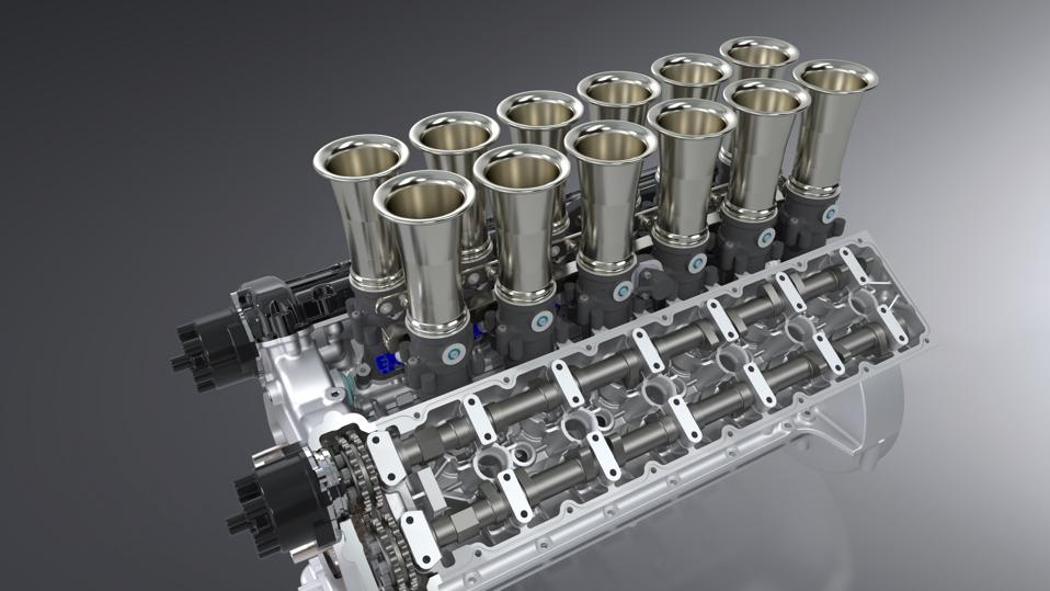 Render of V12 engine of Squalo by GTO Engineering