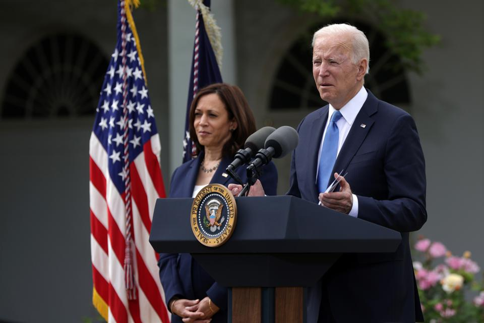 President Biden Delivers Remarks On COVID-19 Response From The Rose Garden