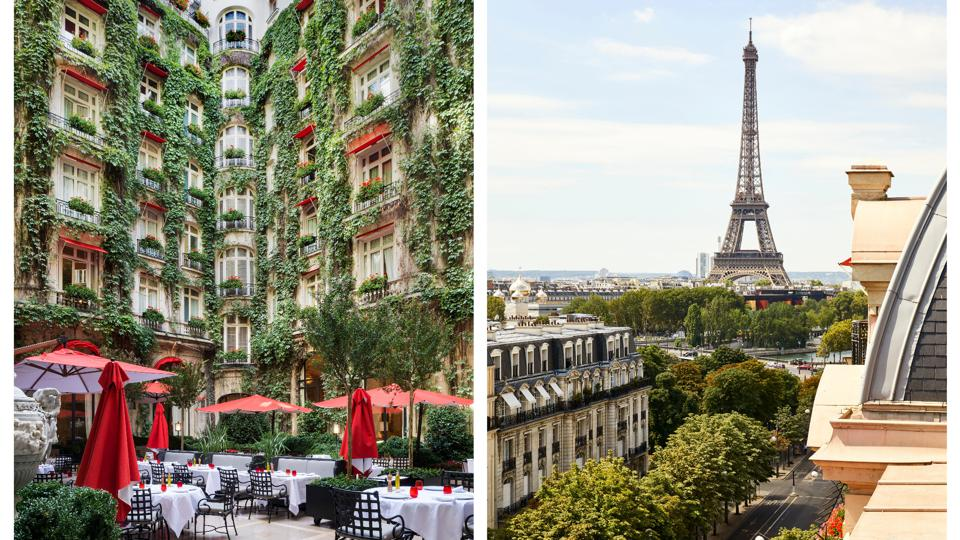 Left: the Plaza Athénée's outdoor courtyard restaurant with plant life adorning the walls. Right: a view of the Eiffel Tower from one of the newly revamped Art Deco rooms at the Plaza Athénée.