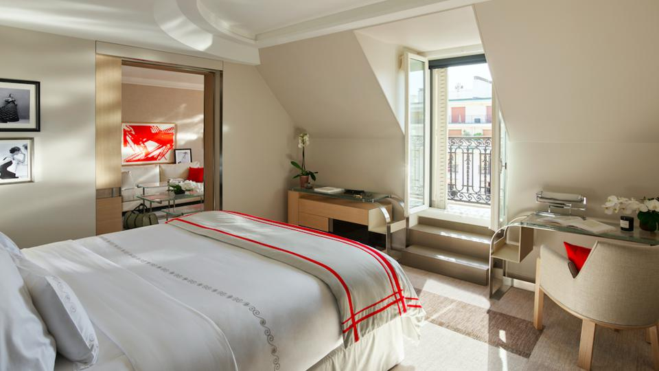 A newly revamped Art Decor suite at the Plaza Athénée Hotel in Paris.