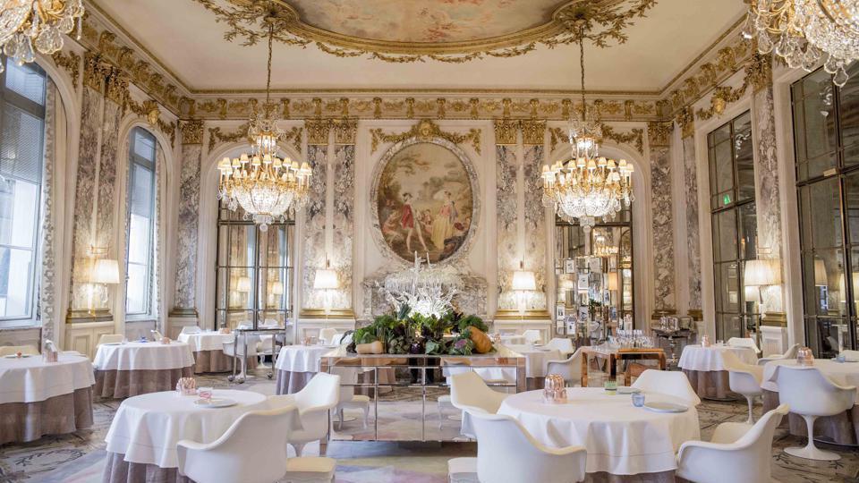 The ornate Pompadour Salon, also the two-star Alain Ducasse restaurant.