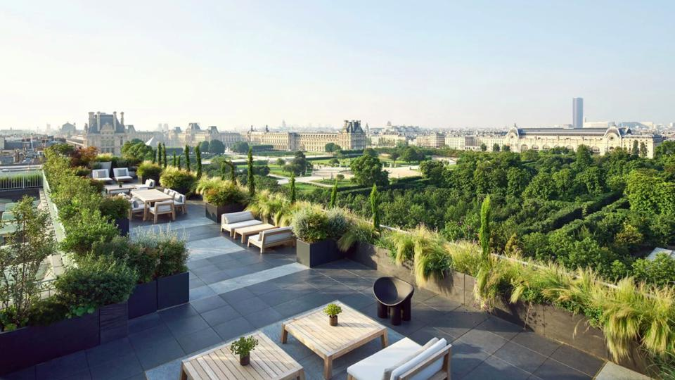 The sprawling Paris views from Le Meurice's Belle Etoile presidential suite terrace.