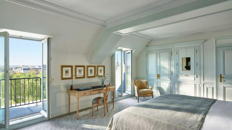 One of the redesigned suites at Le Meurice, with views of the Tuileries Gardens.