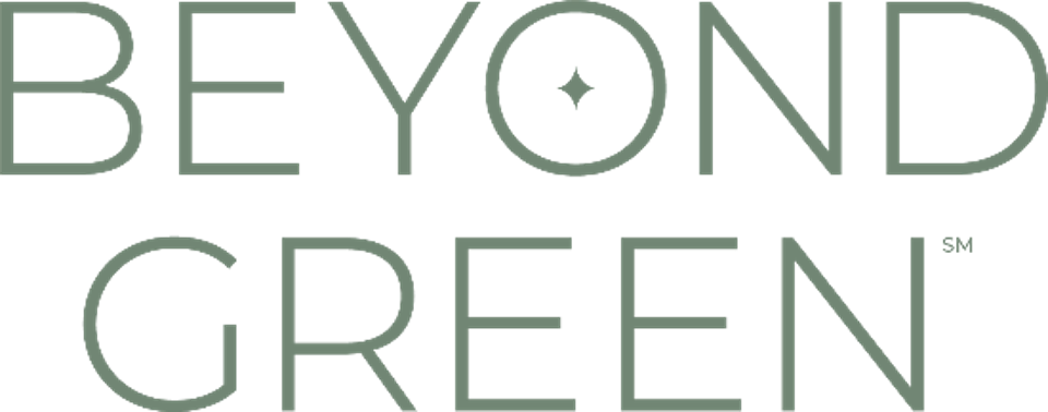 The words ″Beyond Green″ in green capital letters
