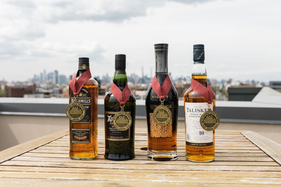 Some of the Single Malt Whisky Medalists at the 2021 New York International Spirits Competition.