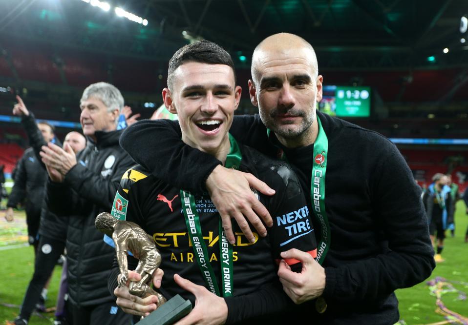 Pep Guardiola Man City title winners 2021 Phil Foden