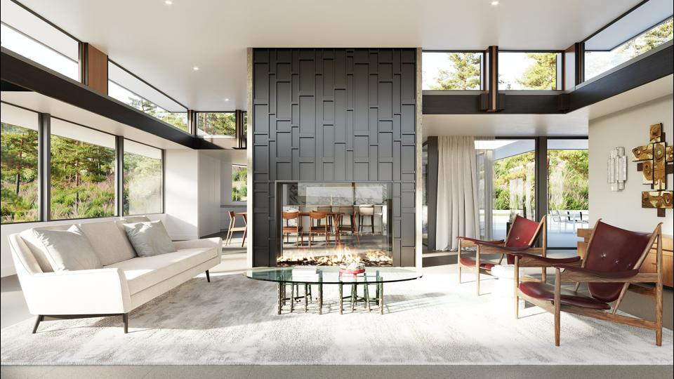 living room restored Rex Lotery AIA designed house in beverly hills trousdale 1060 loma