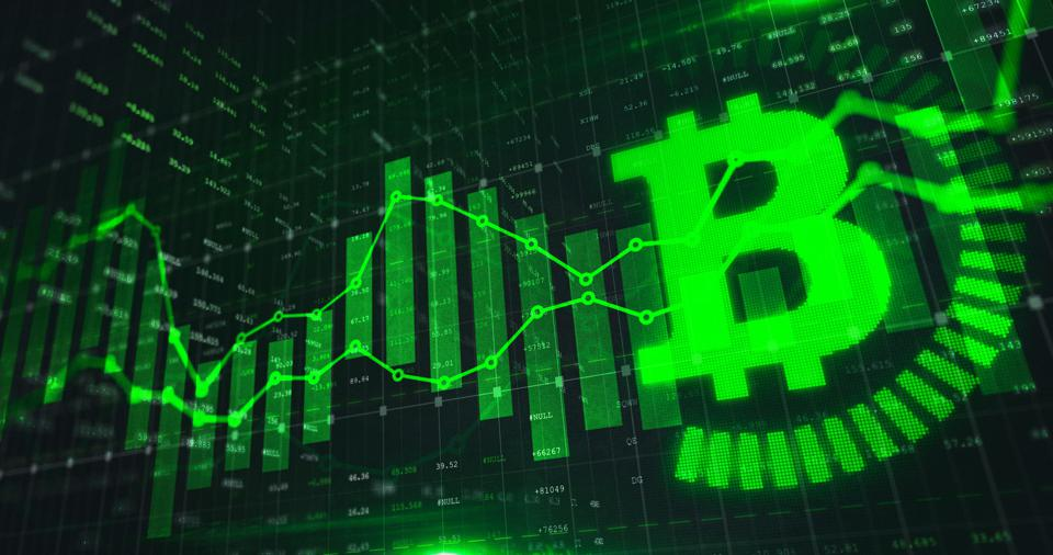 Stock market Bitcoin trading graph in green color as economy 3D illustration background.