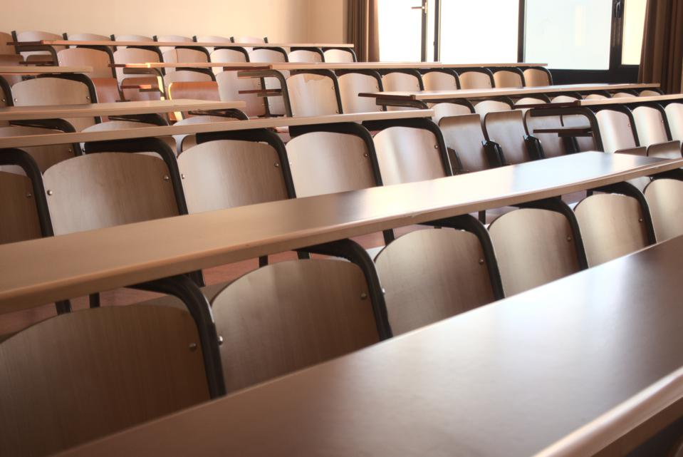 Shot of an empty classroom after the cancellation of schools regarding covid 19