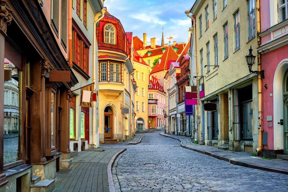Old town of Tallinn, Estonia–now open to vaccinated travelers with any of the 9 global vaccines