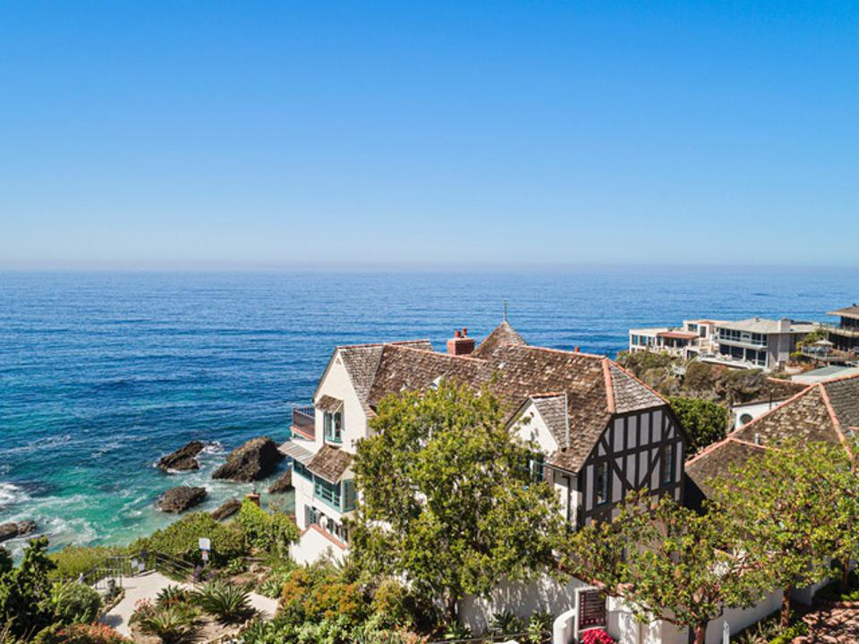 Oceanfront half-timbered house.
