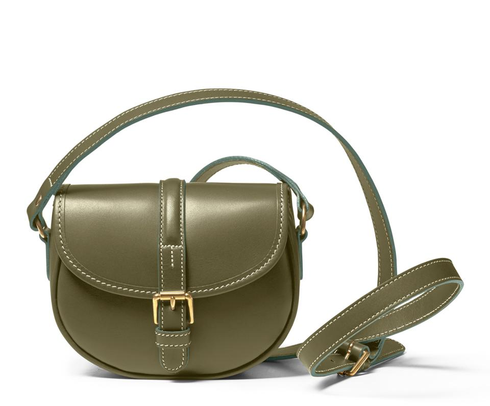 a cross body bag in olive green