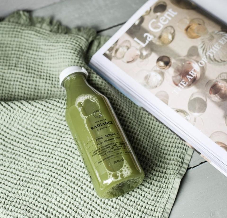 a bottle of green juice