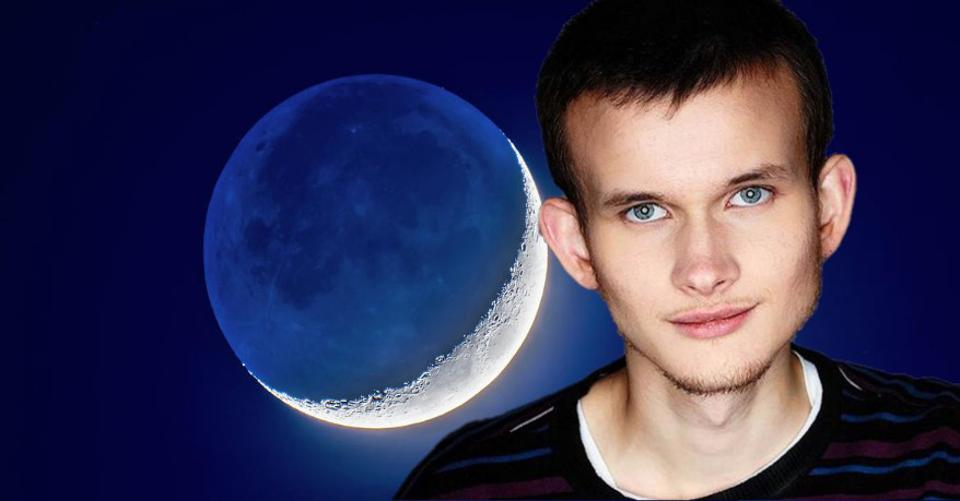 A blueish-white crescent moon in the background of the Ethereum founder.