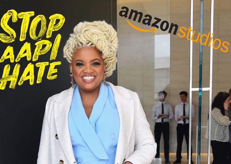 Latasha Gillespie is seen in L.A. with logos for stopaapihate.org and Amazon Studios.