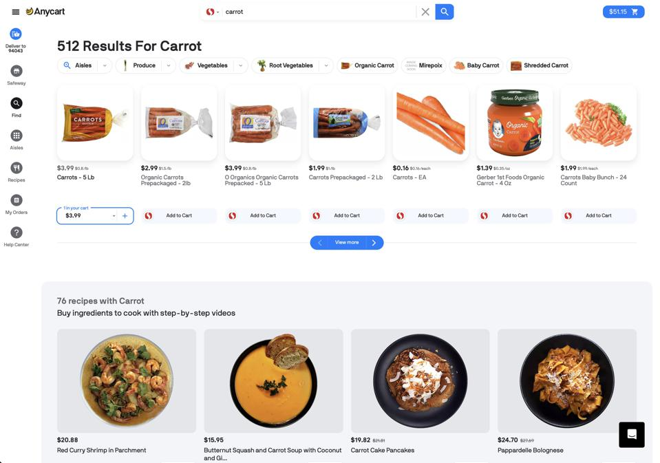 E-Grocery search engine Anycart allows customers to shop by recipe or by item and quickly add recipe components to cart.