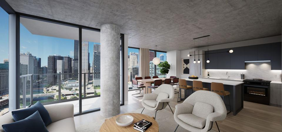Interior of a condominium residence at The Reed in Chicago.