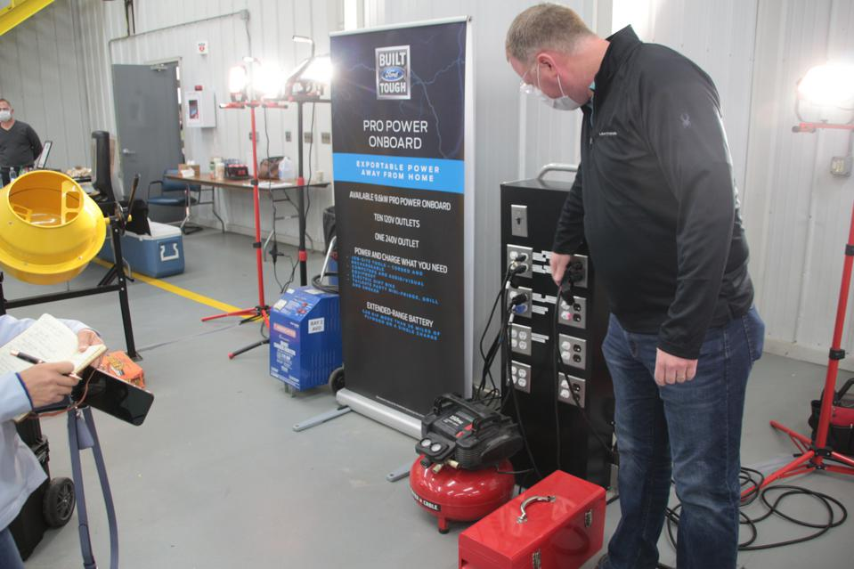 The 9.6-kW ProPower system on the 2023 Ford F-150 Lightning can power a range of worksite tools and equipment