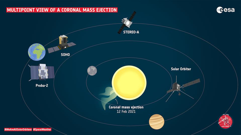 Sketch of the relative positions of spacecraft that observed the 12 February coronal mass ejections (CME).