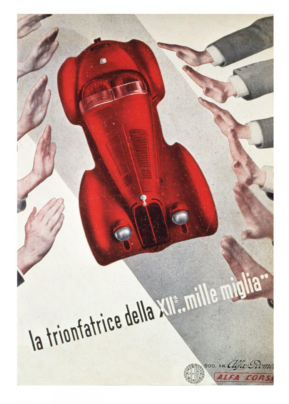 Advert celebrating the victorious 8C 2900B MM Spyder in the 1938 Mille Miglia