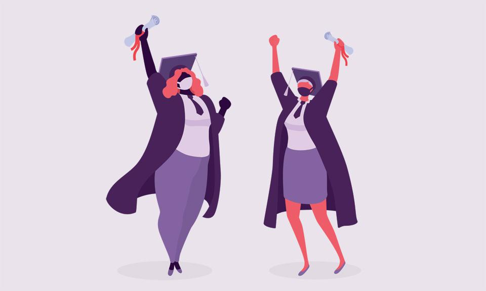 An illustration of two women celebrating their graduation from business school during a pandemic.