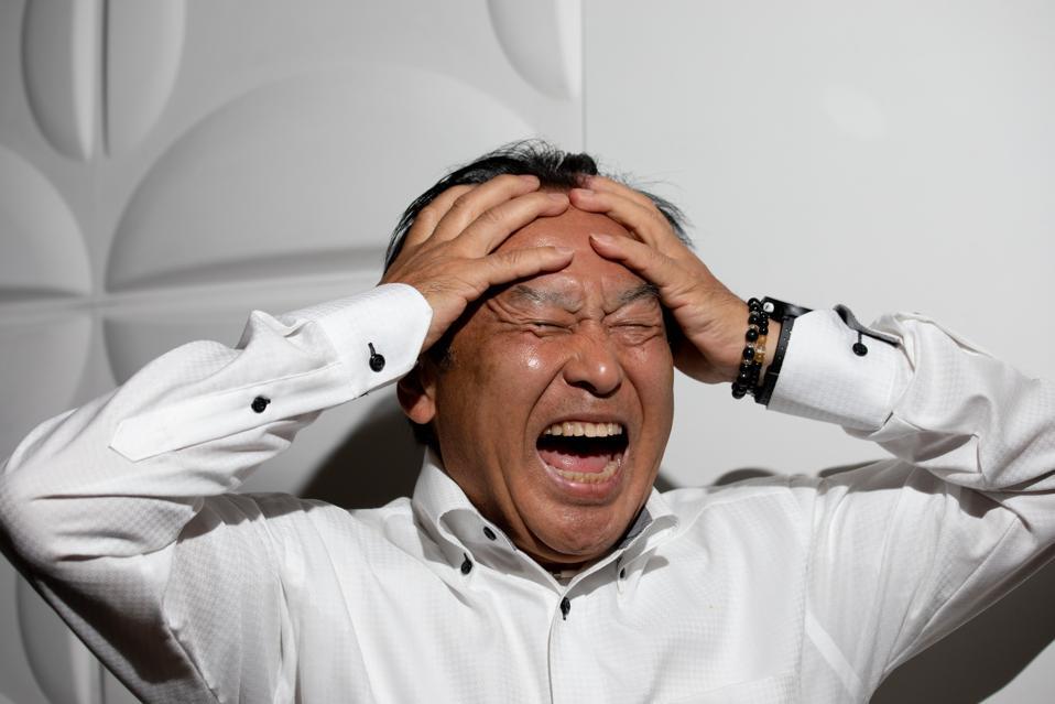 Japanese senior man screaming
