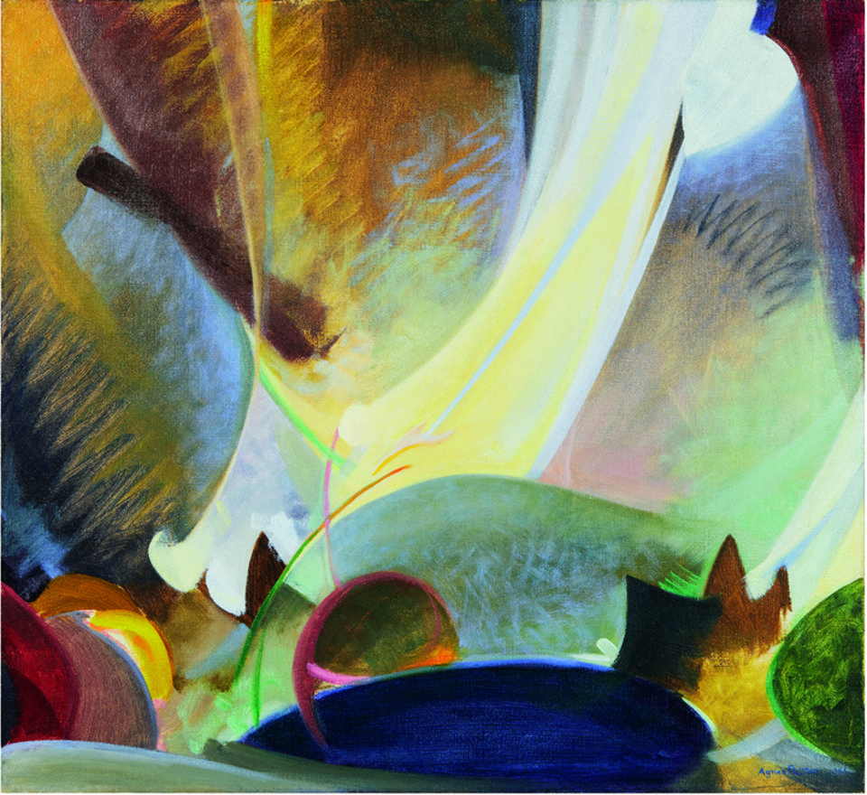 Agnes Pelton, The Ray Serene, 1925. Oil on canvas. Collection of Lynda and Stewart Resnick.