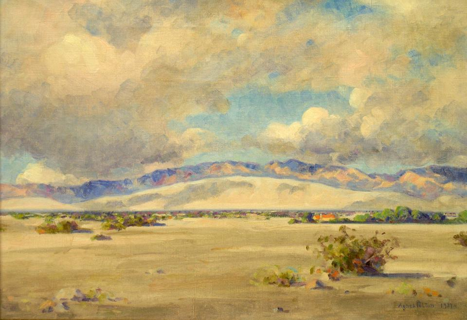Agnes Pelton, Between Storms, Edom Hill, 1937, oil on canvas, 14 x 20 inches. Museum Purchase with funds provided by the General Acquisition Fund for Western Art, 2-1995.