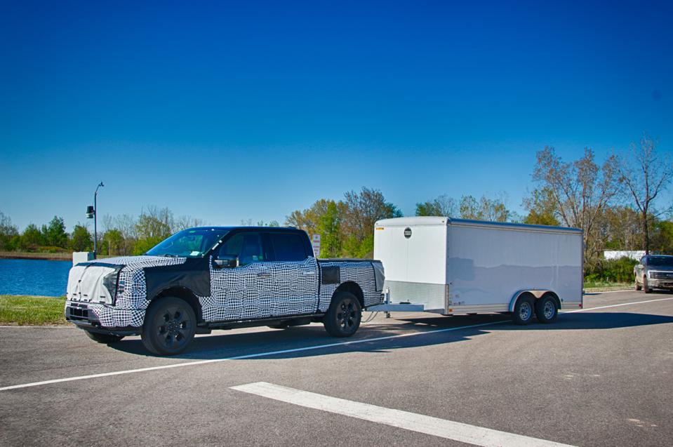 2023 Ford F-150 Lightning prototype towing 6,000-lb trailer