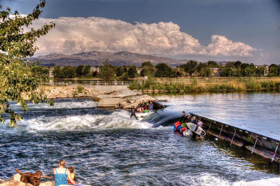 surfing on a river in Boise