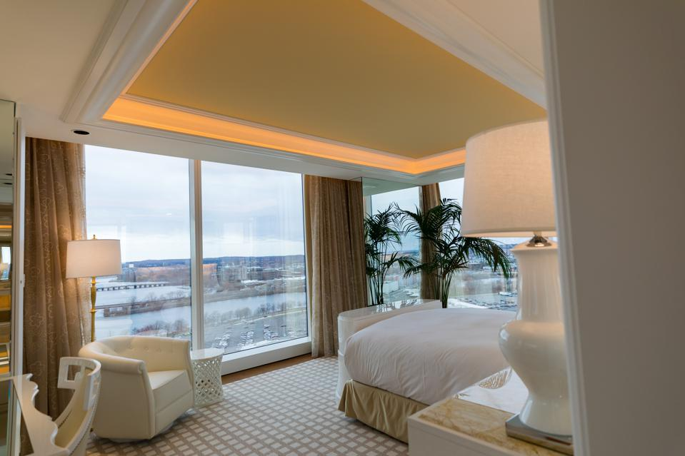 EVERETT, MA - View of the master bedroom at the Two Bedroom Residence suite at the Encore Boston Harbor