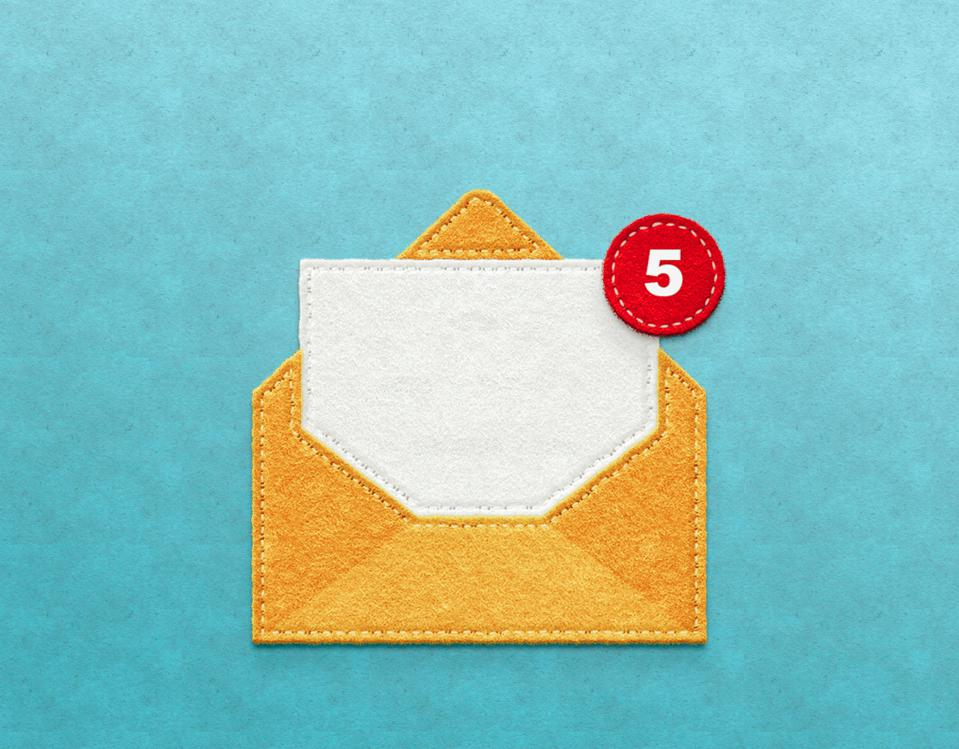 yellow envelope with notification-Email concept
