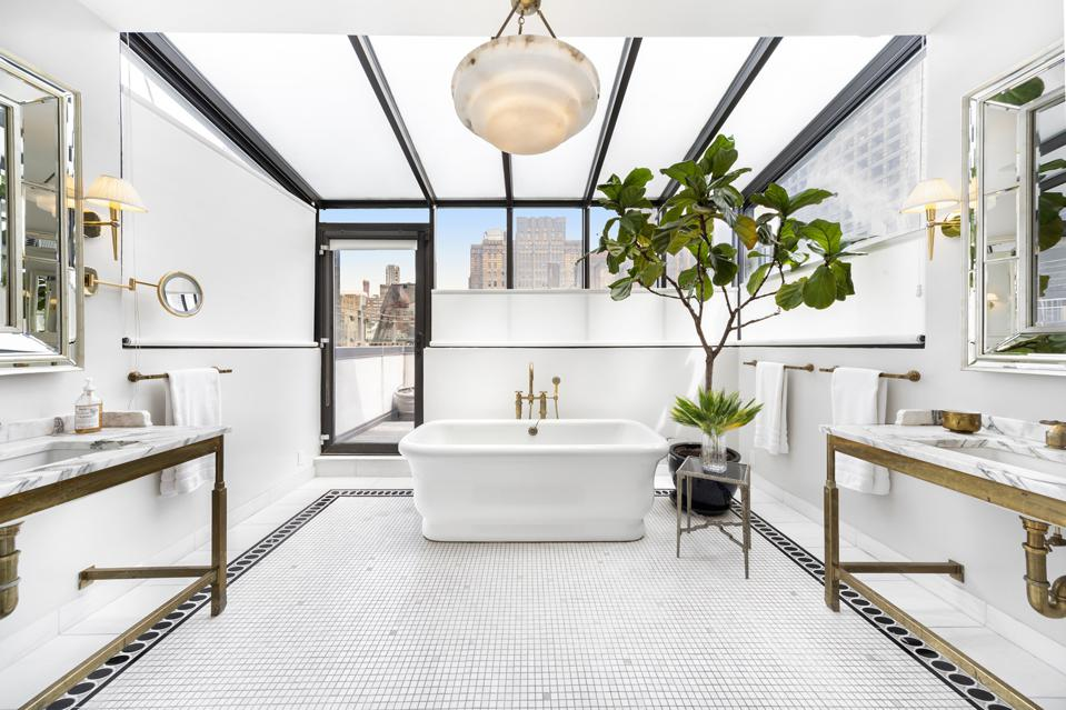 white bathroom soaking tub manhattan 45 East 30th Street, Penthouse B New York, NY, USA