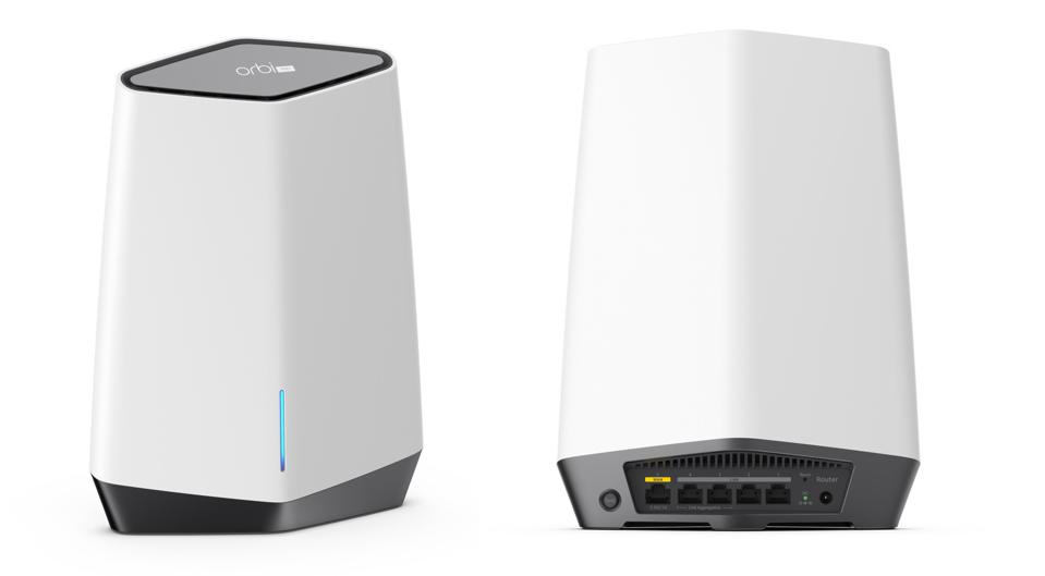 Front and back view of Netgear Orbi Pro WiFi 6 Mini Mesh router and satellite