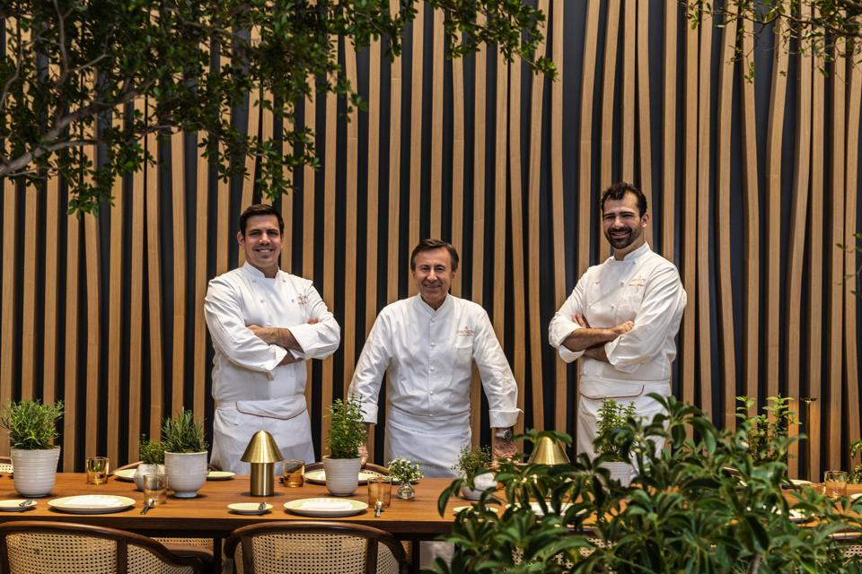 Chef Daniel Boulud with Michael Balboni and Will Nacev, co-executive chefs