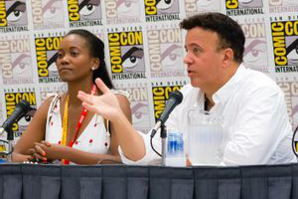 Erika Alexander speaking at Comic-Con in San Diego with ″Concrete Park″ co-creator and illustrator Tony Puryear.