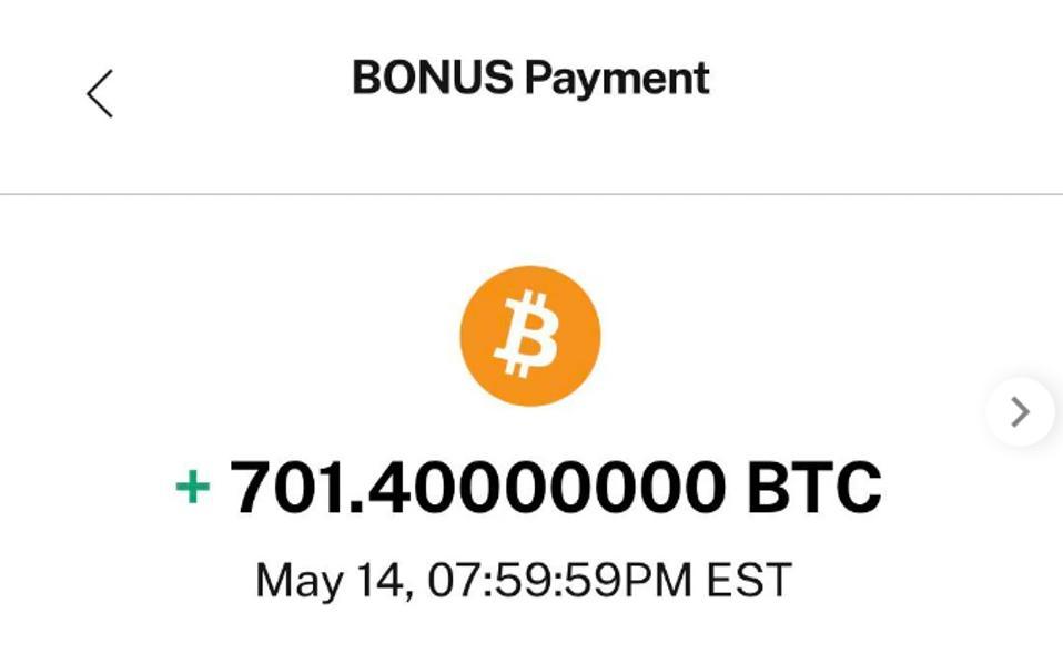 Pagamento de bônus bitcoin equivocado